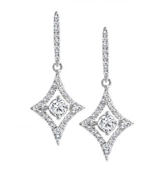 BOUCLES D'OREILLES FANTAISIE EN OR BLANC 18K SERTIES DE DIAMANTS