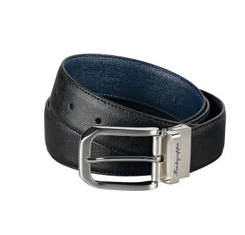 MONTEGRAPPA IL SIGNORE 35MM BELT TEXTURED BLACK/NAVY LEATHER
