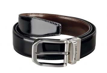 MONTEGRAPPA IL SIGNORE 35MM BELT GLOSSY BLACK/BROWN LEATHER