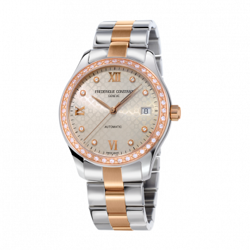DOUBLE HEARTBEAT WATCH IN STAINLESS STEEL AND ROSE GOLD PVD WITH DIAMONDS
