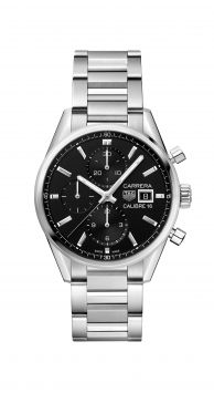 CARRERA CALIBRE 16 AUTOMATIC CHRONOGRAPH WATCH WITH BLACK DIAL