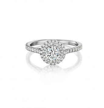 Ring set with a round diamond and a double halo