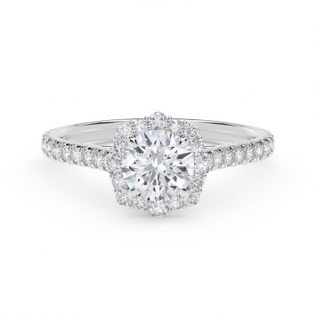 Center of My Universe Floral Halo Engagement Ring with Diamond Band