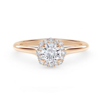 Center of My Universe Floral Halo Engagement Ring with Diamond Band in 18K rose gold