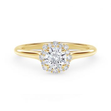 Center of My Universe Floral Halo Engagement Ring with Diamond Band in 18K yellow gold