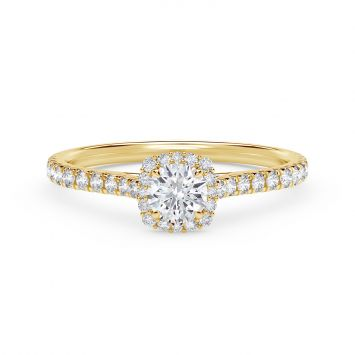 BAGUE DE FIANçAILLES EN OR JAUNE 18CT HALO FLORAL  CENTER OF MY UNIVERSE AVEC BANDE DE DIAMANTS