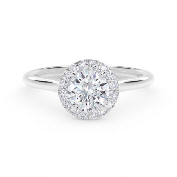 Center of My Universe Floral Halo Engagement Ring with Diamond Band in platinum