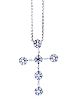COLLIER OR 18K BLANC AVEC CROIX EN DIAMANTS 0.57CT TW RB VVS/VS H