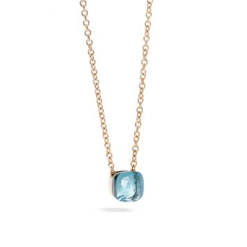 COLLIER POMELLATO EN OR ROSE AVEC TOPAZE BLEUE