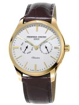 CLASSICS WATCH WITH WHITE DIAL AND BROWN LEATHER BRACELET
