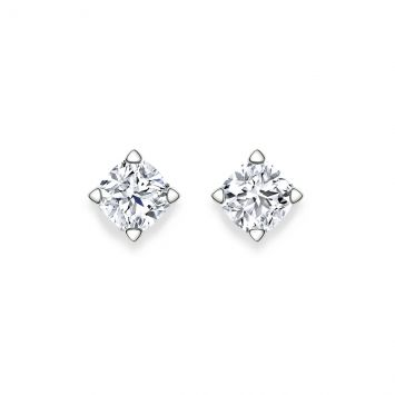 Cushion solitaire diamond studs