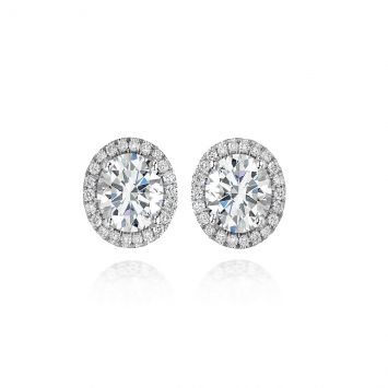 Oval halo solitaire studs