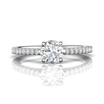 Round diamond pave ring - Center available from 0.20ct to 2ct