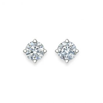 BOUCLES D'OREILLES SOLITAIRE à DIAMANTS RONDS
