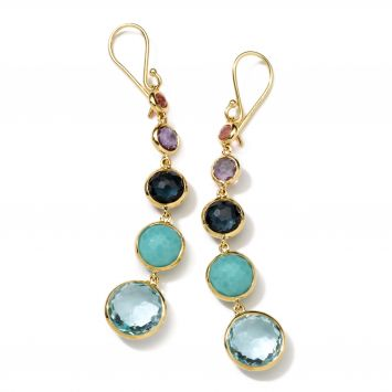 LOLLIPOP LOLLITINI EARRINGS IN 18K YELLOW GOLD AND COLORED STONES