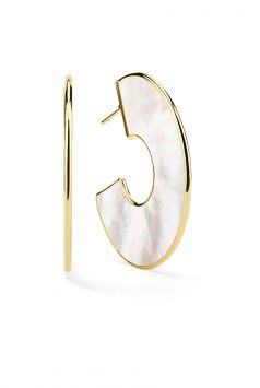 POLISHED ROCK CANDY EARRINGS IN 18K YELLOW GOLD WITH MOTHER-OF-PEARL