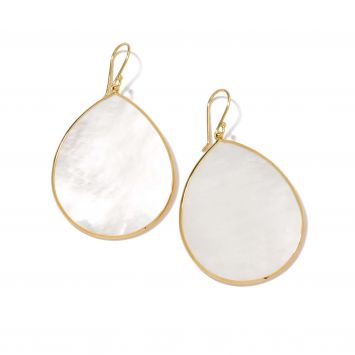 POLISHED ROCK CANDY TEARDROP EARRINGS IN 18K YELLOW GOLD WITH MOTHER-OF-PEARL