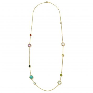 COLLIER LOLLIPOP EN OR JAUNE 18K AVEC PIERRES DE COULEUR
