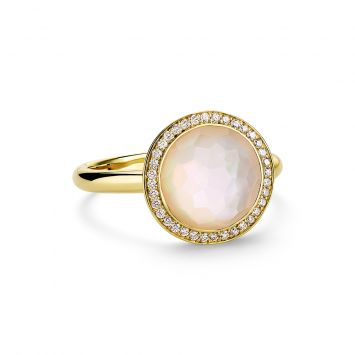 LOLLIPOP MINI RING IN 18K YELLOW GOLD WITH MOTHER-OF-PEARL AND DIAMONDS