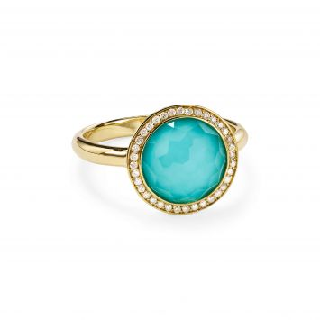 LOLLIPOP MINI RING IN 18K YELLOW GOLD WITH TURQUOISE AND DIAMONDS