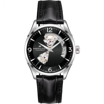 JAZZMASTER OPEN HEART AUTO WATCH WITH BLACK DIAL