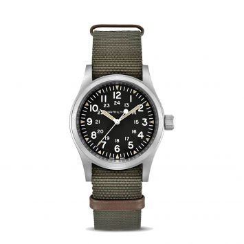 HAMILTON KHAKI FIELD MECHANICAL WATCH WITH BLACK DIAL