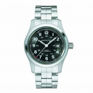 HAMILTON KHAKI FIELD WATCH WITH BLACK DIAL