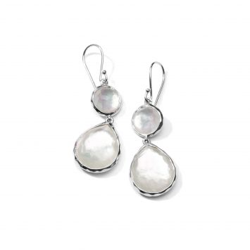 WONDERLAND DROP EARRINGS IN STERLING SILVER WITH MOTHER-OF-PEARL AND QUARTZ