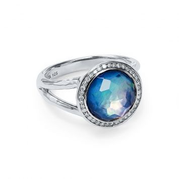 LOLLIPOP MINI RING IN STERLING SILVER WITH MOTHER-OF-PEARL, LAPIS AND DIAMONDS