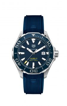 AQUARACER CALIBRE 5 AUTOMATIC WATCH WITH RUBBER BRACELET AND BLUE DIAL