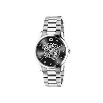 G-TIMELESS WATCH IN STEEL WITH TIGER MOTIF ON BLACK DIAL