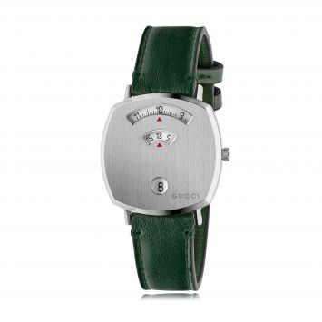 GUC1 GUCCI STEEL GRIP WATCH WITH GREEN LEATHER STRAP