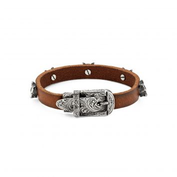GUCCI ANGER FOREST LEATHER AND BULL'S HEAD BRACELET