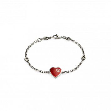 GUCCI HEART BRACELET WITH RED ENAMEL