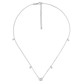 GUCCI RUNNING G WHITE GOLD AND DIAMONDS NECKLACE