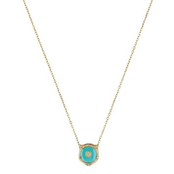 LE MARCHÉ DES MERVEILLES NECKLACE IN 18K YELLOW GOLD WITH TURQUOISE AND DIAMOND