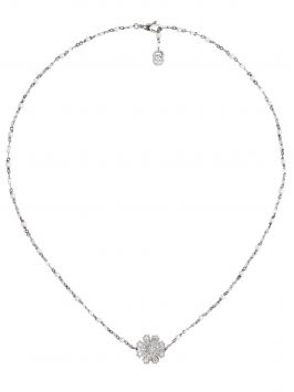 FLORA NECKLACE IN WHITE GOLD WITH DIAMONDS AND MOTHER-OF-PEARL