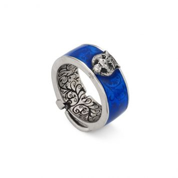 GUCCI GARDEN RING BLUE ENAMEL