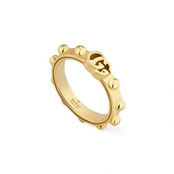 GUCCI RUNNING G YELLOW GOLD RING WITH ROUNDED STUDS