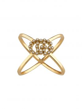 GG RUNNING X RING IN YELLOW GOLD WITH DIAMONDS