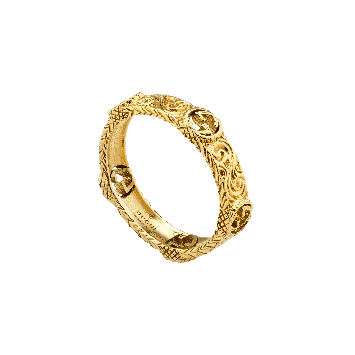 BAGUE GUCCI INTERLOCKING G EN OR JAUNE