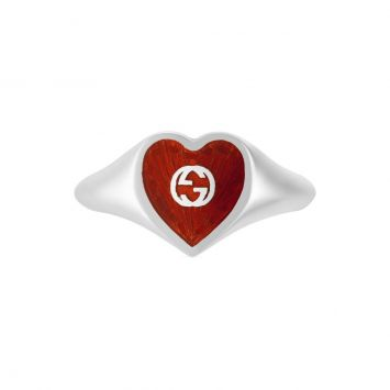 GUCCI HEART RING WITH ENAMEL HEART XS